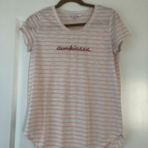 "Pink & White Striped ""Sunkissed"" Tee"